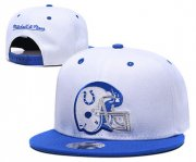 Wholesale Cheap Colts Team Logo White Blue Mitchell & Ness Adjustable Hat GS