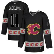 Wholesale Cheap Adidas Flames #11 Mikael Backlund Black Authentic Team Logo Fashion Stitched NHL Jersey