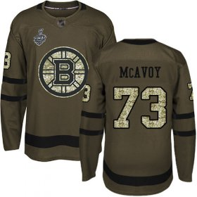 Wholesale Cheap Adidas Bruins #73 Charlie McAvoy Green Salute to Service Stanley Cup Final Bound Youth Stitched NHL Jersey