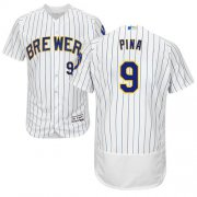 Wholesale Cheap Brewers #9 Manny Pina White Strip Flexbase Authentic Collection Stitched MLB Jersey