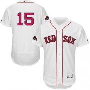 Wholesale Cheap Red Sox #15 Dustin Pedroia White Flexbase Authentic Collection 2018 World Series Champions Stitched MLB Jersey