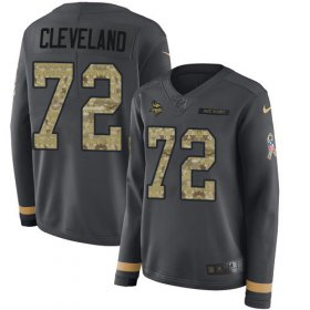 Wholesale Cheap Nike Vikings #72 Ezra Cleveland Anthracite Salute to Service Women\'s Stitched NFL Limited Therma Long Sleeve Jersey