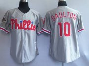 Wholesale Mitchell and Ness Phillies #10 Royal Daulton Grey Stitched Throwback Baseball Jersey