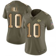 Wholesale Cheap Nike Chiefs #10 Tyreek Hill Olive/Gold Women's Stitched NFL Limited 2017 Salute to Service Jersey