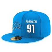 Wholesale Cheap Detroit Lions #91 A'Shawn Robinson Snapback Cap NFL Player Light Blue with White Number Stitched Hat