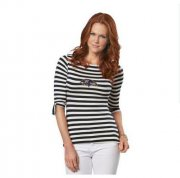 Wholesale Cheap Baltimore Ravens Lady Striped Boatneck Three-Quarter Sleeve T-Shirt