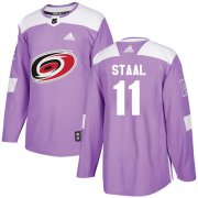 Wholesale Cheap Adidas Hurricanes #11 Jordan Staal Purple Authentic Fights Cancer Stitched Youth NHL Jersey