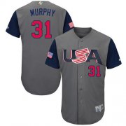 Wholesale Cheap Team USA #31 Daniel Murphy Gray 2017 World MLB Classic Authentic Stitched Youth MLB Jersey