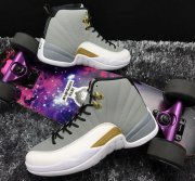 Wholesale Cheap Air Jordan 12 Retro Shoes Wolf Grey/White-Gold