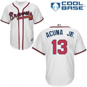 Wholesale Cheap Braves #13 Ronald Acuna Jr. White New Cool Base Stitched MLB Jersey