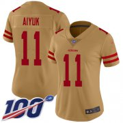 Wholesale Cheap Nike 49ers #11 Brandon Aiyuk Gold Women's Stitched NFL Limited Inverted Legend 100th Season Jersey
