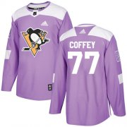 Wholesale Cheap Adidas Penguins #77 Paul Coffey Purple Authentic Fights Cancer Stitched NHL Jersey