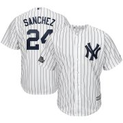 Wholesale Cheap New York Yankees #24 Gary Sanchez Majestic 2019 London Series Cool Base Player Jersey White Navy
