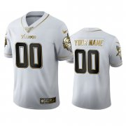 Wholesale Cheap Minnesota Vikings Custom Men's Nike White Golden Edition Vapor Limited NFL 100 Jersey