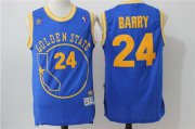 Wholesale Cheap Men's Golden State Warriors #24 Rick Barry Blue Hardwood Classics Soul Swingman Throwback The City Jersey