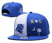 Wholesale Cheap Panthers Team Logo Blue White Adjustable Hat YD