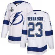Cheap Adidas Lightning #23 Carter Verhaeghe White Road Authentic 2020 Stanley Cup Champions Stitched NHL Jersey