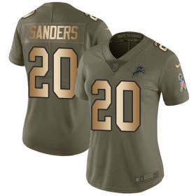 Wholesale Cheap Nike Lions #20 Barry Sanders Olive/Gold Women\'s Stitched NFL Limited 2017 Salute to Service Jersey
