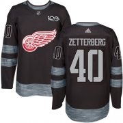 Wholesale Cheap Adidas Red Wings #40 Henrik Zetterberg Black 1917-2017 100th Anniversary Stitched NHL Jersey