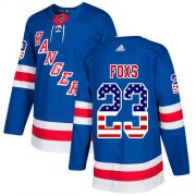 Wholesale Cheap Adidas Rangers #23 Adam Foxs Royal Blue Home Authentic USA Flag Stitched NHL Jersey
