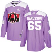 Wholesale Cheap Adidas Senators #65 Erik Karlsson Purple Authentic Fights Cancer Stitched Youth NHL Jersey