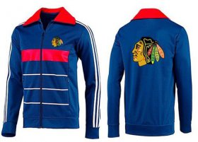 Wholesale Cheap NHL Chicago Blackhawks Zip Jackets Blue-3