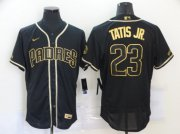 Wholesale Cheap Men's San Diego Padres #23 Fernando Tatis Jr. Black With Gold Stitched MLB Flex Base Nike Jersey