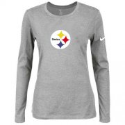 Wholesale Cheap Women's Nike Pittsburgh Steelers Of The City Long Sleeve Tri-Blend NFL T-Shirt Light Grey
