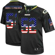 Wholesale Cheap Nike Packers #52 Clay Matthews Black Men's Stitched NFL Elite USA Flag Fashion Jersey