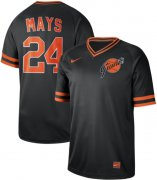 Wholesale Cheap Nike Giants #24 Willie Mays Black Authentic Cooperstown Collection Stitched MLB jerseys