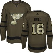 Wholesale Cheap Adidas Blues #16 Brett Hull Green Salute to Service Stitched Youth NHL Jersey