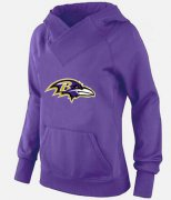 Wholesale Cheap Women's Baltimore Ravens Logo Pullover Hoodie Purple