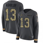 Wholesale Cheap Nike Eagles #13 Nelson Agholor Anthracite Salute to Service Women's Stitched NFL Limited Therma Long Sleeve Jersey