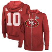 Wholesale Cheap Men's San Francisco 49ers #10 Jimmy Garoppolo NFL Red Super Bowl LIV Bound Player Name & Number Full-Zip Hoodie