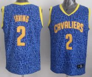 Wholesale Cheap Cleveland Cavaliers #2 Kyrie Irving Blue Leopard Print Fashion Jersey