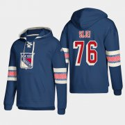 Wholesale Cheap New York Rangers #76 Brady Skjei Blue adidas Lace-Up Pullover Hoodie