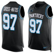 Wholesale Cheap Nike Panthers #97 Yetur Gross-Matos Black Team Color Men's Stitched NFL Limited Tank Top Jersey