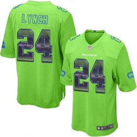 Wholesale Cheap Nike Seahawks #24 Marshawn Lynch Green Alternate Men\'s Stitched NFL Limited Strobe Jersey
