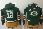 Wholesale Cheap Nike Packers #12 Aaron Rodgers Green/Gold Youth Name & Number Pullover NFL Hoodie