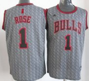 Wholesale Cheap Chicago Bulls #1 Derrick Rose Gray Static Fashion Jersey