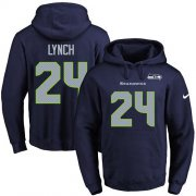 Wholesale Cheap Nike Seahawks #24 Marshawn Lynch Navy Blue Name & Number Pullover NFL Hoodie