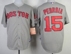 Wholesale Cheap Red Sox #15 Dustin Pedroia Stitched Grey MLB Jersey