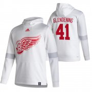 Wholesale Cheap Detroit Red Wings #41 Luke Glendening Adidas Reverse Retro Pullover Hoodie White