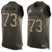 Wholesale Cheap Nike Dolphins #73 Austin Jackson Green Men's Stitched NFL Limited Salute To Service Tank Top Jersey