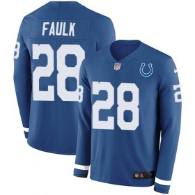 Wholesale Cheap Nike Colts #28 Marshall Faulk Royal Blue Team Color Men\'s Stitched NFL Limited Therma Long Sleeve Jersey