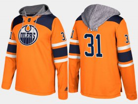 Wholesale Cheap Oilers #31 Grant Fuhr Orange Name And Number Hoodie