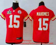 Wholesale Cheap Youth Kansas City Chiefs #15 Patrick Mahomes Red 2021 Super Bowl LV Vapor Untouchable Stitched Nike Limited NFL Jersey