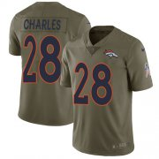 Wholesale Cheap Nike Broncos #28 Jamaal Charles Olive Men's Stitched NFL Limited 2017 Salute to Service Jersey
