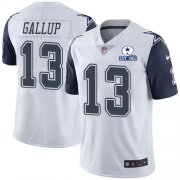 Wholesale Cheap Nike Cowboys #13 Michael Gallup White Men's Stitched With Established In 1960 Patch NFL Limited Rush Jersey