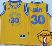 Wholesale Cheap Men's Golden State Warriors #30 Stephen Curry Yellow Hardwood Swingman 2017 The NBA Finals Patch Jersey